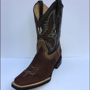 MEN'S RODEO COWBOY BOOTS GENUINE LEATHER SQURE TOE